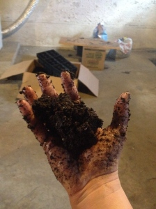 You've got the moisture level right when the soil clumps in your hand.