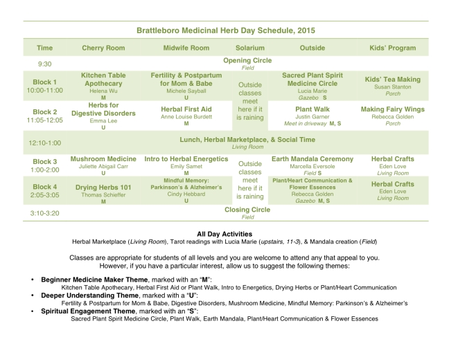Herb Day 2015 Schedule
